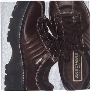 Skechers 90S VINTAGE brown LEATHER JAMMERS 8
